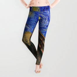 "Edvard Munch,"" The Scream "" + Van Gogh,"" Starry night "" Leggings"
