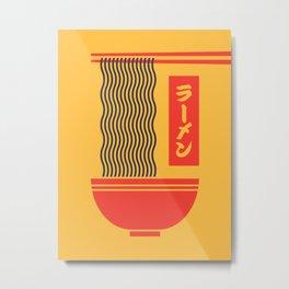 Ramen Japanese Food Noodle Bowl Chopsticks - Yellow Metal Print