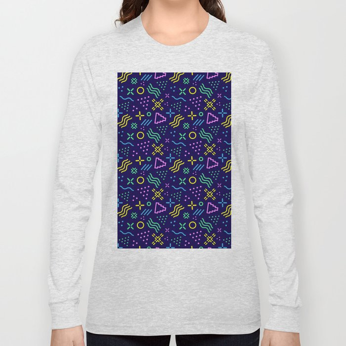Retro 80s Shapes Pattern Long Sleeve T-shirt