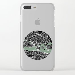 Stockholm city map engraving Clear iPhone Case