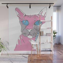 Blue Eyed Hairless Cat Wall Mural