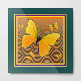 Dark Teal Yellow Butterflies Pattern Metal Print