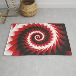 Abstract Spiral Sea Shell 2 - Red, Black and White Rug