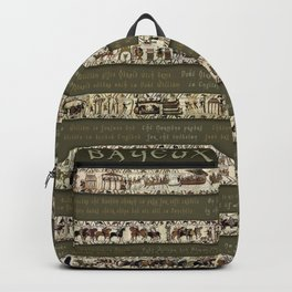 Bayeux Tapestry on Army Green - Full scenes & description Backpack