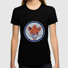 Wild Boar Razorback Head Circle Retro T-shirt
