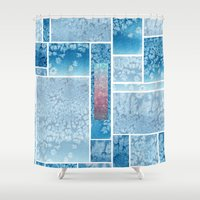 salt water Shower Curtains featuring Water Color and Salt Mosaic  by Marwood Designs