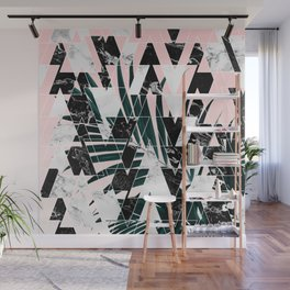Modern geometric triangles black white abstract marble pattern palm tree leaf pink ombre Wall Mural