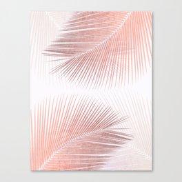 Palm leaf synchronicity - rose gold Canvas Print