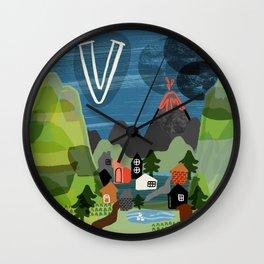 """V"" Wall Clock"