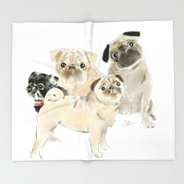Pug Dogs Pugs Throw Blanket