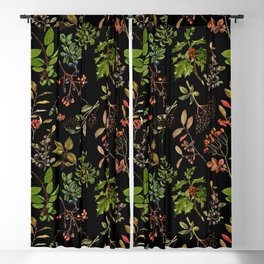 Vintage & Shabby Chic - vintage botanical wildflowers and berries on black Blackout Curtain