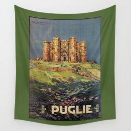 Apulia Castle del Monte vintage Italian travel ad Wall Tapestry