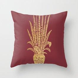 Gold sansevieria on red dahlia Throw Pillow