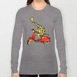 Giraffe riding a moped Long Sleeve T-shirt