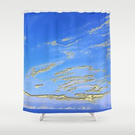 Mediterranean sky with mountains Shower Curtain
