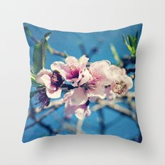 Nectarine Blossoms Throw Pillow