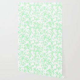 Spots - White and Light Green Wallpaper