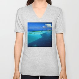 French Polynesia Tahiti Tropical Turquoise Waters Paradise Unisex V-Neck