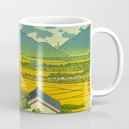 Kawase Hasui Vintage Japanese Woodblock Print Beautiful Mountain Valley Farmland Yellow Hues Coffee Mug