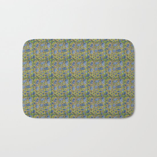 Blue-Black Seeds Pattern Bath Mat
