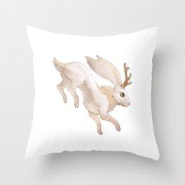 White Jackalope Throw Pillow
