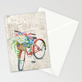 Red bike & white daisy Stationery Cards