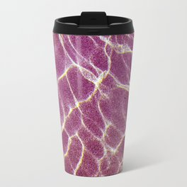 Ripple patterns of crystal clear water over pink sand Travel Mug