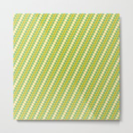 Geometrical green yellow white triangles stripes pattern Metal Print