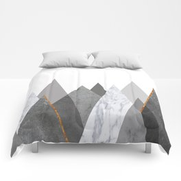 Marble Gray Copper Black and White Mountains Comforters