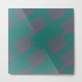 Striped teacups Metal Print