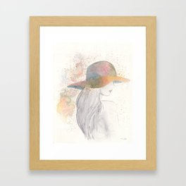 Girl with a hat Framed Art Print