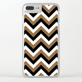 Brown White and Black Chevrons Clear iPhone Case