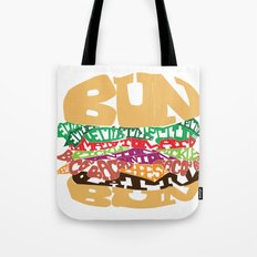 Word Drawing Burger Tote Bag