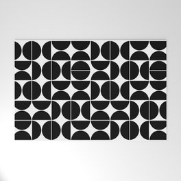 Mid Century Modern Geometric 04 Black Welcome Mat