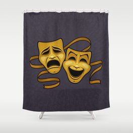 Gold Comedy And Tragedy Theater Masks Shower Curtain