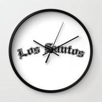 gta Wall Clocks featuring GTA Los santos city by Komrod