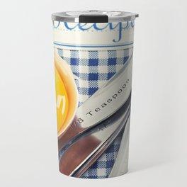 Blue cookbook and kitchenware Travel Mug
