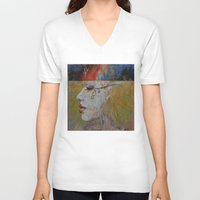 queen V-neck T-shirts featuring Queen by Michael Creese