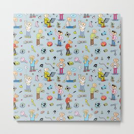 Colorful Seamless Pattern with Funny Doodle People and Items Metal Print