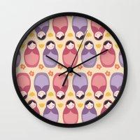 russian Wall Clocks featuring Russian Dolls by ItsJessica