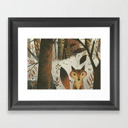 Fox And Trees Framed Art Print