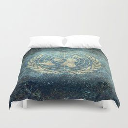 The United Nations Flag - Vintage version Duvet Cover