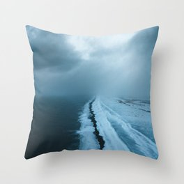 Moody Black Sand Beach in Iceland - Landscape Photography Throw Pillow