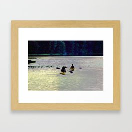 Twilight Kayaking Beach Lake, PA Framed Art Print