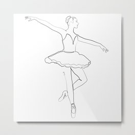 The Ballerina Line - Black & White Metal Print