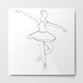The Ballerina Line - Black & White Metal Print