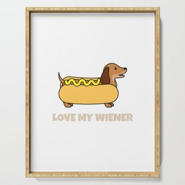 Mens Funny Dog graphic - Dachshund - Love My Wiener Humor Tee Serving Tray