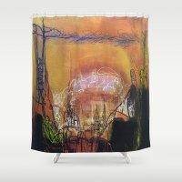 sin city Shower Curtains featuring Sin City - Mixed Media Acrylic Abstract Modern Art, 2010 by Hafiza Nilofar Khan