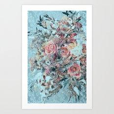 Lush vintage floral pastel wood panel Art Print