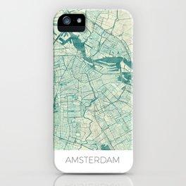 Amsterdam Map Blue Vintage iPhone Case